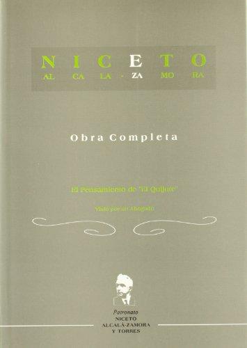 9788493207113: El pensamiento del quijote (nicetoalcala-Zamora y Torres, 4)