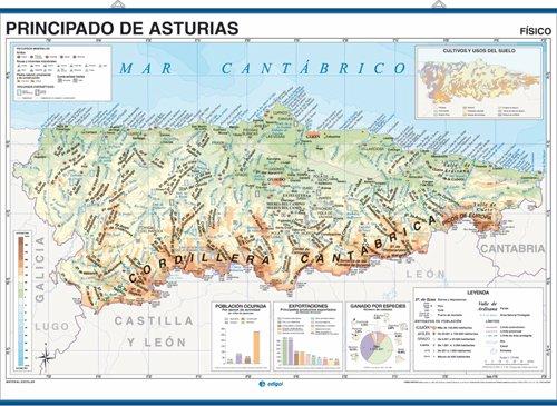 9788495654373: Mapa mural Principado de Asturias impreso a doble cara Físico / Político envarillado, con colgadores y tubo 140 x 100 cm