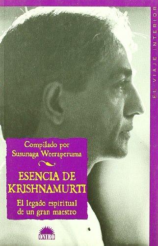 9788497541763: Esencia de Krishnamurti/ Essence of Krisnamurti (Spanish Edition)