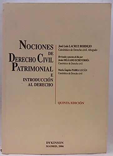 9788497726269: Nociones de Derecho Civil Patrimonial e introducción al derecho