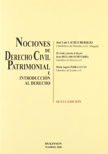 9788498492965: Nociones de Derecho Civil Patrimonial e introducción al derecho