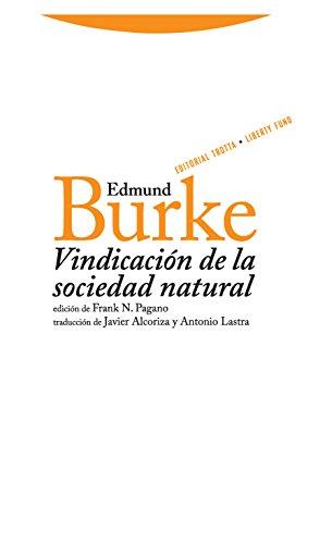 9788498790320: Vindicacion de la sociedad natural (Spanish Edition)
