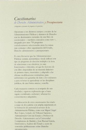 9788498900002: Cuestionarios de Derecho Administrativo y Presupuestario (Adaptados al Formato de Preguntas de Oposición)