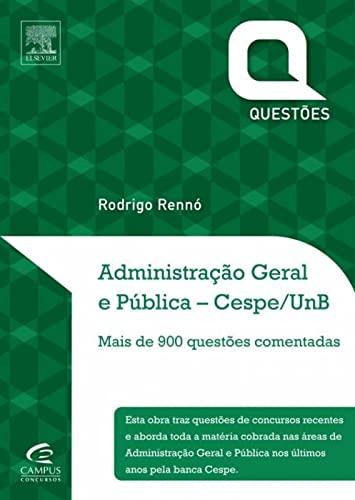 9788535275711: Administração Geral e Pública. Questões Comentadas. CESPE/UNB (Em Portuguese do Brasil)
