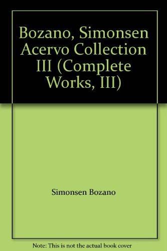 Bozano, Simonsen Acervo Collection III (Complete Works, III): Bozano, Simonsen