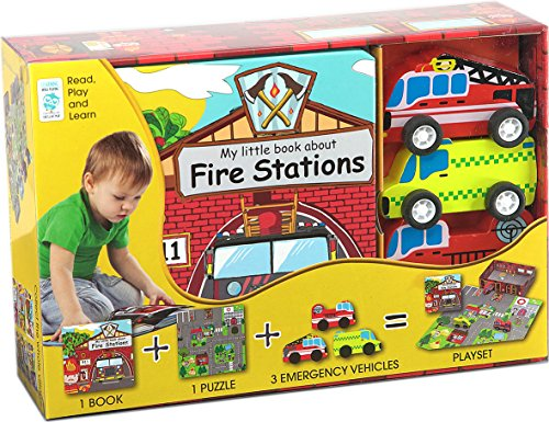 My Little Village: Fire Station (Book, Wooden Toy & 16-piece Puzzle): Globe Publishing