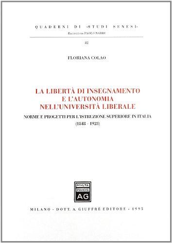 La liberta di insegnamento e l'autonomia nell'universita: Floriana Colao