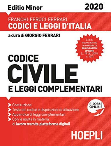 9788820395445: Codice civile e leggi complementari. Febbraio 2020. Ediz. minor