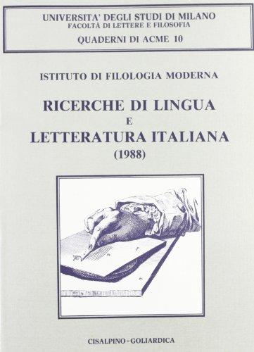 Ricerche di lingua e letteratura italiana (1988).: AA.VV.