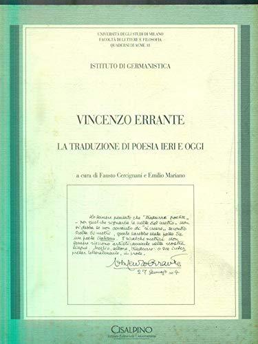 Vincenzo Errante. La traduzione di poesia ieri: Cercignani, Faustro /