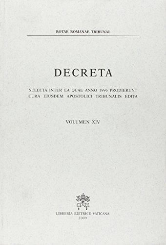 9788820981648: Decreta selecta inter ea quae anno 1996 prodierunt cura eiusdem Apostolici Tribunalis edita: 14