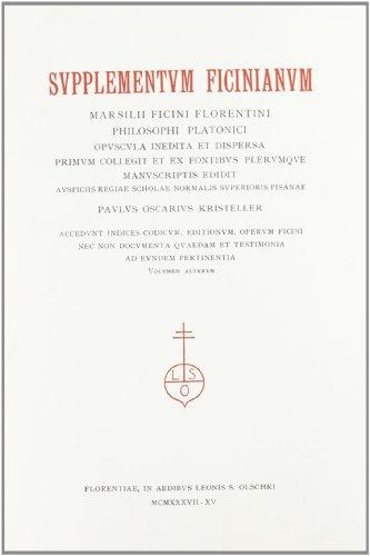 Supplementum Ficinianum. Marsilii Ficini Florentini phi: Ficino,Marsilio.