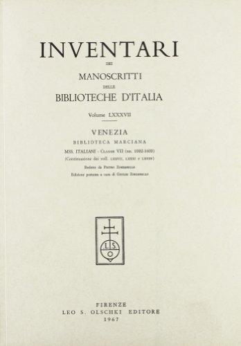 INVENTARI DEI MANOSCRITTI DELLE BIBLIOTECHE D'ITALIA. VOL. 87. Venezia.