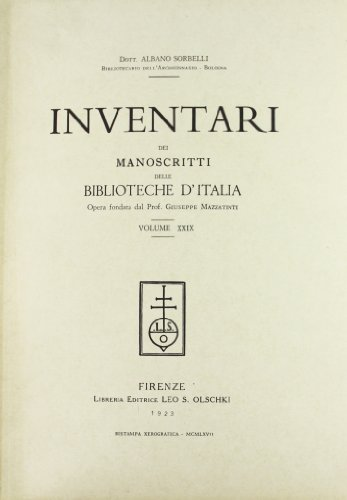INVENTARI DEI MANOSCRITTI DELLE BIBLIOTECHE D'ITALIA. VOL. 29. Pesaro.: AA.VV