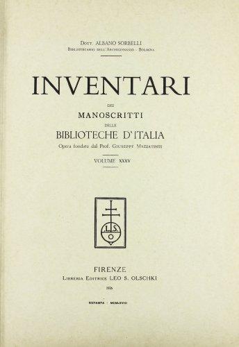 INVENTARI DEI MANOSCRITTI DELLE BIBLIOTECHE D'ITALIA. VOL. 35. Pesaro.: AA.VV