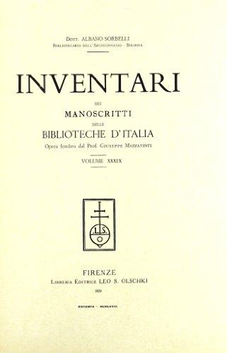 INVENTARI DEI MANOSCRITTI DELLE BIBLIOTECHE D'ITALIA. VOL. 39. Pesaro.: AA.VV