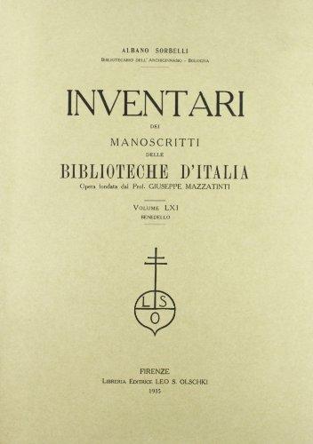 INVENTARI DEI MANOSCRITTI DELLE BIBLIOTECHE D'ITALIA. VOL. 61. Benedello.: AA.VV