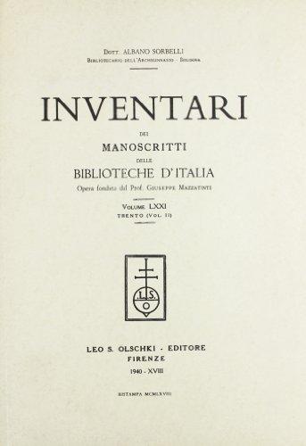 INVENTARI DEI MANOSCRITTI DELLE BIBLIOTECHE D'ITALIA. VOL. 71. Trento.: AA.VV