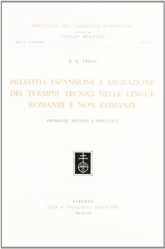 9788822221261: Prestito, espansione e migrazione dei termini tecnici nelle lingue romanze e non romanze (problemi, metodo e risultati)