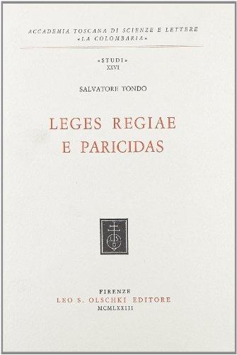 Leges regiae e paricidas.: Tondo,Salvatore.