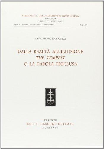 """Dalla realtà all'illusione. """"The Tempest"""" o la parola preclusa.: Piglionica, ..."""