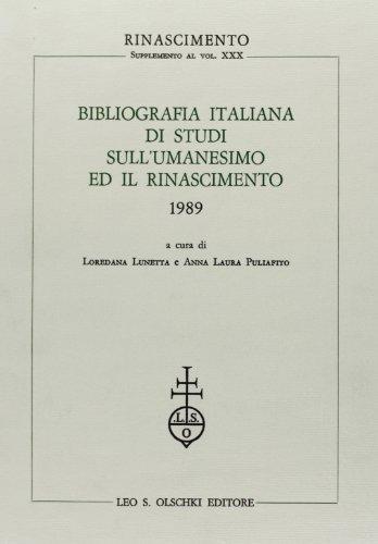 Bibliografia italiana di studi sull'umanesimo ed il Rinascimento (1989).