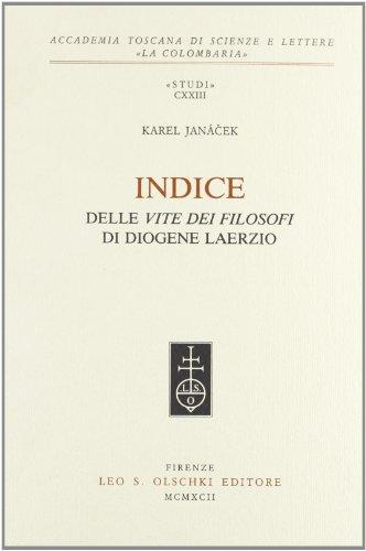 """INDICE DELLE """"VITE DEI FILOSOFI"""" DI DIOGENE LAERZIO.: JANÀCEK Karel."""
