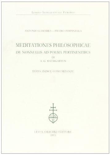9788822241665: Meditationes philosophicae de nonnullis ad poema pertinentibus di A. G. Baumgarten. Testo, indici, concordanze (Lessico intellettuale europeo)