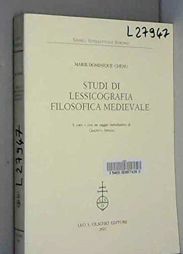Studi di lessicografia filosofica medievale.: Chenu,Marie-Dominique.