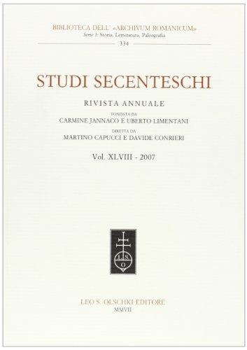 STUDI SECENTESCHI VOL. XLVIII (2007).