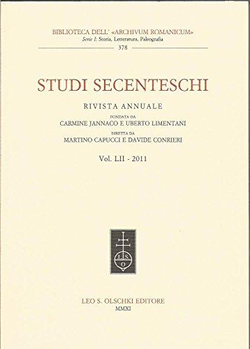 STUDI SECENTESCHI VOL. LII (2011).