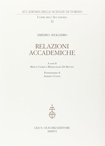 Relazioni Accademiche.: Avogadro, Amedeo