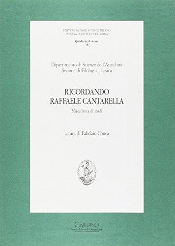 9788832345742: Ricordando Raffaele Cantarella