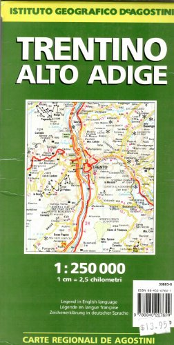 Trentino/Alto Adige Road Map 1:250K (English and Italian Edition) (9788840207629) by Istituto geografico De Agostini