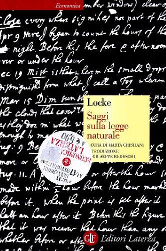 Saggi sulla legge naturale.: Locke,John.