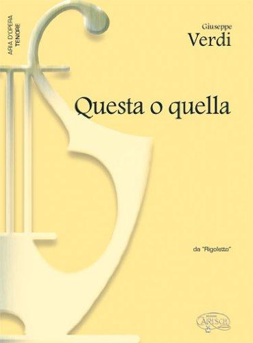 9788850709090: Giuseppe Verdi: Questa o quella, da Rigoletto (Tenore) (Opera and Arias)
