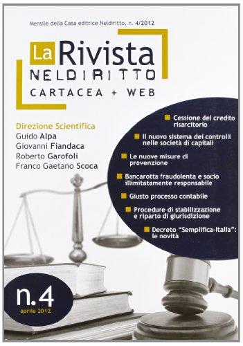 9788866570844: La rivista di Neldiritto (2012): 4