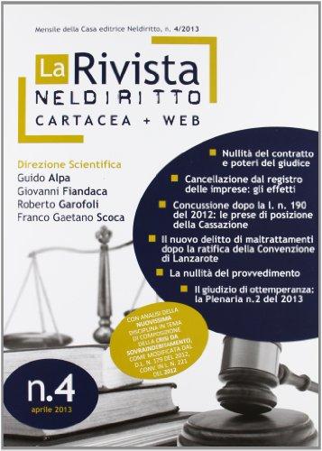 9788866571995: La rivista di Neldiritto (2013): 4