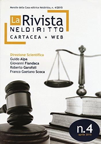 9788866575368: La rivista di Neldiritto (2015): 4