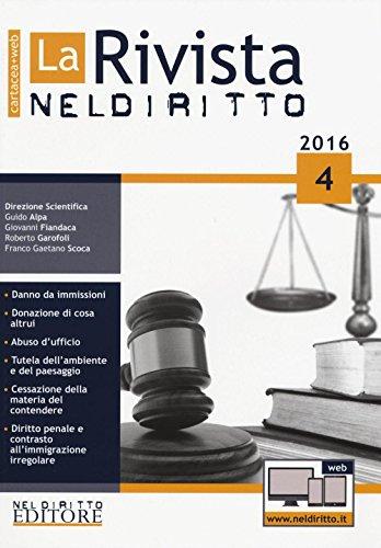 9788866577522: La rivista di Neldiritto (2016): 4