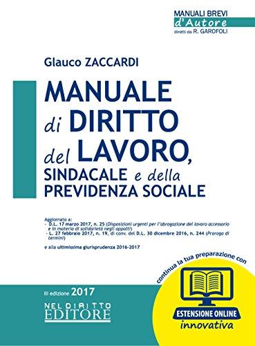 Manuale di diritto del lavoro, sindacale e: Glauco Zaccardi