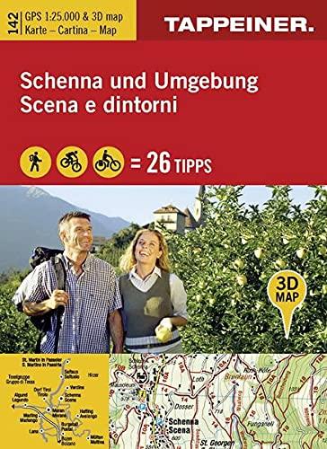 9788870737462: Kombinierte Wanderkarte Schenna und Umgebung. Topografische Wanderkarte 1:25000. Mit 3D-Panoramabild und Outdoorripps. Ediz. italiana e tedesca