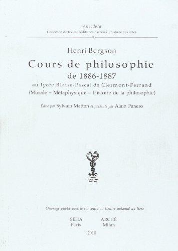9788872523094: Cours de Philosophie de 1886-1887 au Lyc�e Blaise-Pascal de Clermont-Ferrand