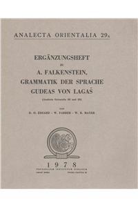 Erganzungsheft Zu Falkenstein: Grammatik Der Sprache Gudeas: Edzard, Do; Farber,