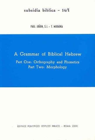 9788876535956: A Grammar of biblical hebrew (Subsidia Biblica)