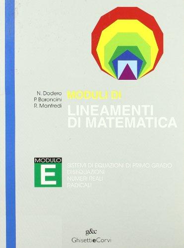 9788880135791: MODULI LINEAMENTI MATEMATICA CLASS. E