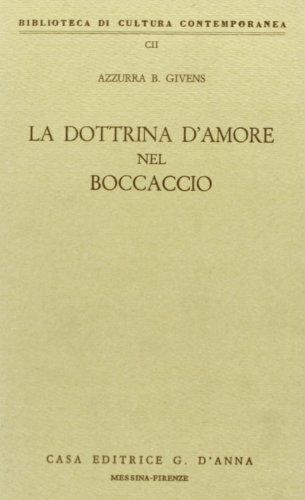 9788883211119: La dottrina d'amore nel Boccaccio