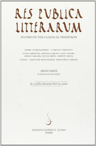 9788884024688: Res publica litterarum. Studies in the classical tradition: 26