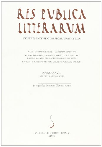 Res publica litterarum. Studies in the classical tradition (Paperback): Aa.vv.