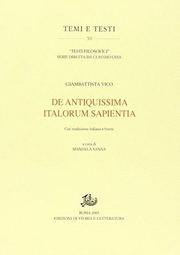 De antiquissima italorum sapientia. Con traduzione italiana: VICO, Giambattista: